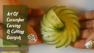 getlinkyoutube.com-The Art Of Cucumber Carving & Cutting - How To Make Cucumber Flower