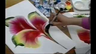 getlinkyoutube.com-ONE STROKE FLOWER ON PAPER - Luz Angela´s Technique