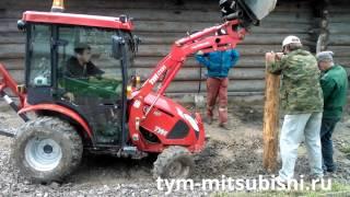 getlinkyoutube.com-Минитрактор TYM T233 HST строит забор