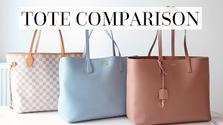 getlinkyoutube.com-TOTE REVIEW: SAINT LAURENT, LOUIS VUITTON NEVERFULL MM & TORY BURCH PERRY