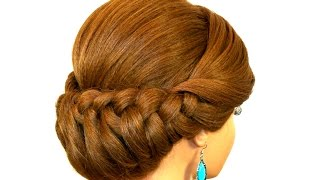 getlinkyoutube.com-Braided Updo Hairstyle for Medium Long Hair.