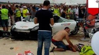 getlinkyoutube.com-Motor show crash: 26 injured in Malta after Porsche supercar crashes into crowd - TomoNews