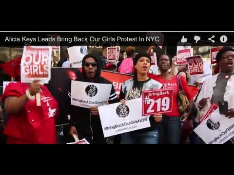 #BringBackOurGirls Alicia Keys Leads Protest At Nigerian Consulate, NYC @SaharaTV1