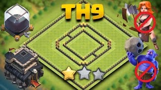 getlinkyoutube.com-Clash Of Clans | TH9 Best Trophy Saving Base (Town Hall 9 De Hybrid Guaranteed 1 Star) + Replays