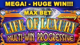 getlinkyoutube.com-LIFE OF LUXURY PROGRESSIVE **HUGE WIN** *Raging Rhino (Casinomannj) - Slot Machine Bonus