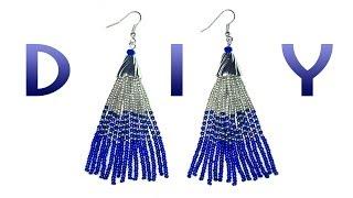 getlinkyoutube.com-DIY: long earrings made of beads / Длинные серьги-кисточки из бисера своими руками