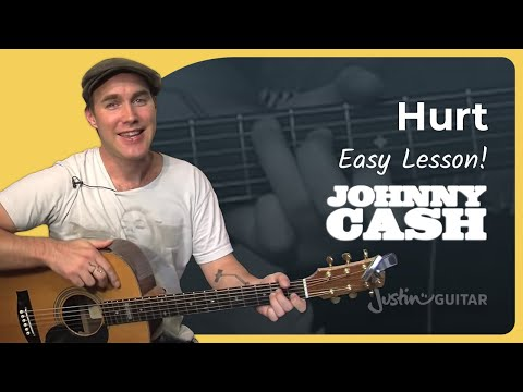 Hurt - Johnny Cash - Easy Song (Beginners Guitar Lesson BS-063)