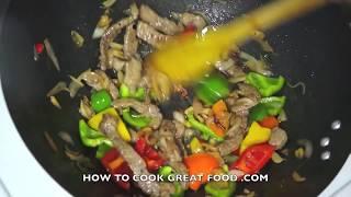 getlinkyoutube.com-Beef & Sweet Pepper Stir Fry Recipe  - Wok Asian cooking