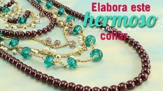 Cómo hacer un collar con perlas café Kit 23254