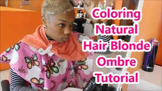Coloring Short NATURAL Hair Tutorial (Blonde OMBRE)