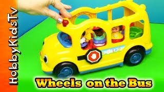 getlinkyoutube.com-Wheels on the Bus Song Little People Bus Toy Review by HobbyKidsTV