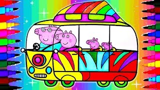 getlinkyoutube.com-Peppa Pig Car Compilation BEST LEARNING Coloring Book l Pages Ever Kids Learn Rainbow Colors Videos