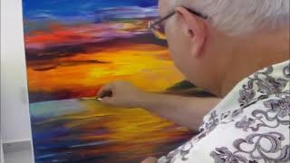 getlinkyoutube.com-Leonid Afremov paint Seascape painting