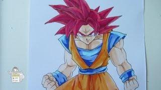getlinkyoutube.com-How to draw Goku Super Saiyan God 超サイヤ人ゴッド