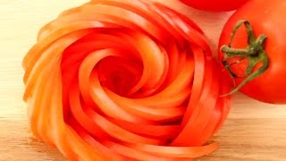 getlinkyoutube.com-How To Make Tomato Rose Flower | Vegetable Carving Garnish | Sushi Garnish | Food Decoration