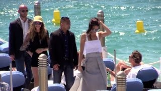 getlinkyoutube.com-Kendall Jenner and Cara Delevingne together at the Martinez beach restaurant in Cannes