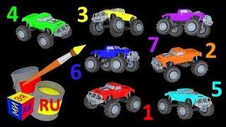 getlinkyoutube.com-Мультики про машинки. Раскрашиваем внедорожники, учим цвета и цифры.
