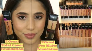 getlinkyoutube.com-L'Oreal Total Cover Foundation 309 Caramel Beige Demo, Swatches, Review & Comparison with Pro Matte