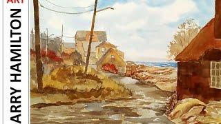 "getlinkyoutube.com-Painting with Larry Hamilton LIVE - Watercolor February 22, 2017 ""Rockport Coast"""