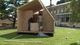getlinkyoutube.com-Folding Whare- portable disaster relief shelter