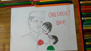 getlinkyoutube.com-How to draw Children's Day poster, Chacha Nehru with kids step by step very easily