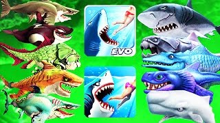 Hungry Shark Evolution vs World - ALL Max Sharks In Both Games