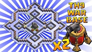 getlinkyoutube.com-Clash of Clans | TH9 WAR / TROPHY BASE + x2 AIR SWEEPER / VOLANO