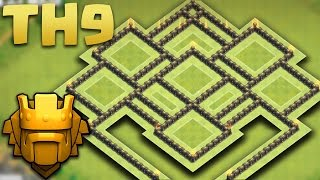 getlinkyoutube.com-Town Hall 9 Best TROPHY Pushing/HYBRID Base (TH9 TROLL MASTER BASE) 2016 + Defence Replays