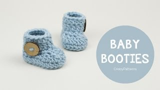getlinkyoutube.com-How to Crochet Fast and Easy Crochet Baby Booties | Croby Patterns