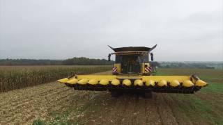 getlinkyoutube.com-EURL BOSCHET - 2X BIG NEW HOLLAND CR 10.90 Smartrax CORN Harvest / 20 ROWS with DRONE DJI 3 pro