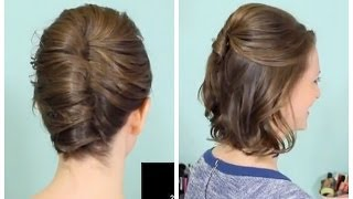 getlinkyoutube.com-French Twist & Half Updo for Short hair!