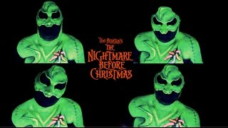 getlinkyoutube.com-Mr. Oogie Boogie Man Nightmare Before Christmas Halloween Makeup Tutorial