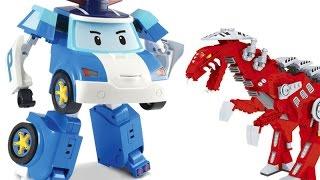 getlinkyoutube.com-Робокар Поли спасает от динозавра (игрушка - трансформер) из мультика Робокар Поли.
