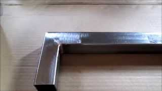 getlinkyoutube.com-Cutting 1 1/ 4 in  square tube at a 45 deg  angle and Brazing with copper wire
