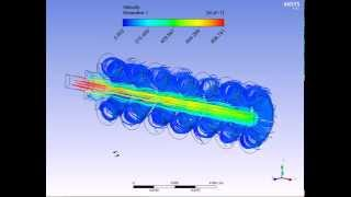 Ansys Fluent глушитель Maxim линни 3-д линни тока скорости потока газов