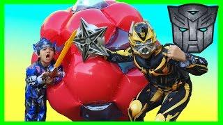 getlinkyoutube.com-GIANT BALL SURPRISE OPENING Transformer Optimus Prime Bumblebee Superheroes Toys Egg Kids Video