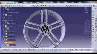 Catia V5 Rim Golf 6 ( part design , wireframe and surface design )