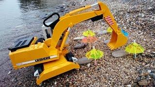getlinkyoutube.com-Большие Рабочие Машины: Работа Экскаватора на пляже: Учимся считать до 6. Игрушки для детей