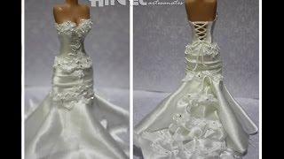 getlinkyoutube.com-Noiva em biscuit com estrutura de cone de papel e vestido em tecido