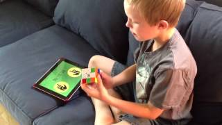 7 year-old - Rubik's cube solve in under 2 minutes
