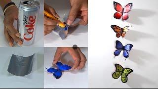getlinkyoutube.com-DIY Crafts  - How to Make Butterflies With Coke Tin's - Tutorials