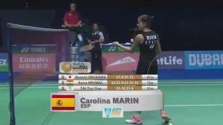 getlinkyoutube.com-Dubai World Superseries Finals 2015 | Badminton SF M3-WS | Nozomi Okuhara vs Carolina Marin