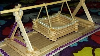 getlinkyoutube.com-Making a toy Baby Swing with Popsicle Sticks