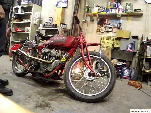 Starting a 1924 Indian Scout (Wall of Death bike)