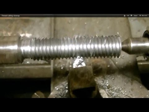 Closeup thread cutting on a lathe in HD/south bend