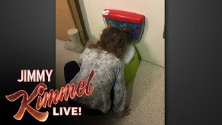 getlinkyoutube.com-Jimmy Kimmel's 2 ½ Year Old Daughter Imitates His Pregnant Wife