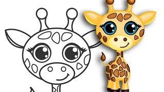 getlinkyoutube.com-How to draw a Giraffe | Super cute & easy | Step by Step Drawing