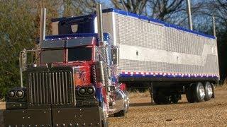 getlinkyoutube.com-Custom Transformers Ultimate Optimus Prime with Trailer and Upgrade Parts ROTF DOTM