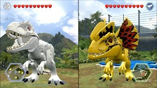 getlinkyoutube.com-LEGO Jurassic World - Indominus Rex vs Custom Indominus Rex - CoOp Fight | Free Roam Gameplay [HD]
