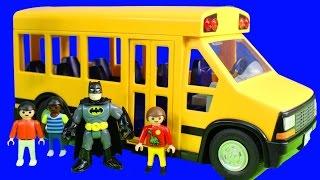getlinkyoutube.com-School Bus Playmobile Kids Go On Fieldtrip To Imaginext Batman Batcave With ABC Kids Song